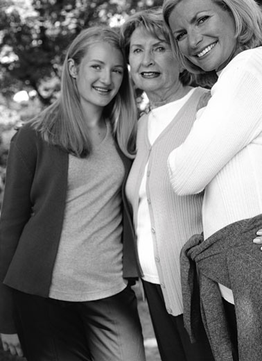 Stock Photo: 1828R-5085 Portrait of Grandmother, Mother And Daughter Outdoors
