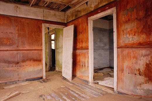 Stock Photo: 1828R-51648 Room of Abandoned House, Namibia, Africa