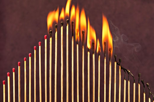 Stock Photo: 1828R-51655 Matches on Fire