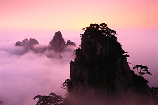 Mountains Peaks over Clouds, Mount Huangshan, Anhui Province, China    : Stock Photo