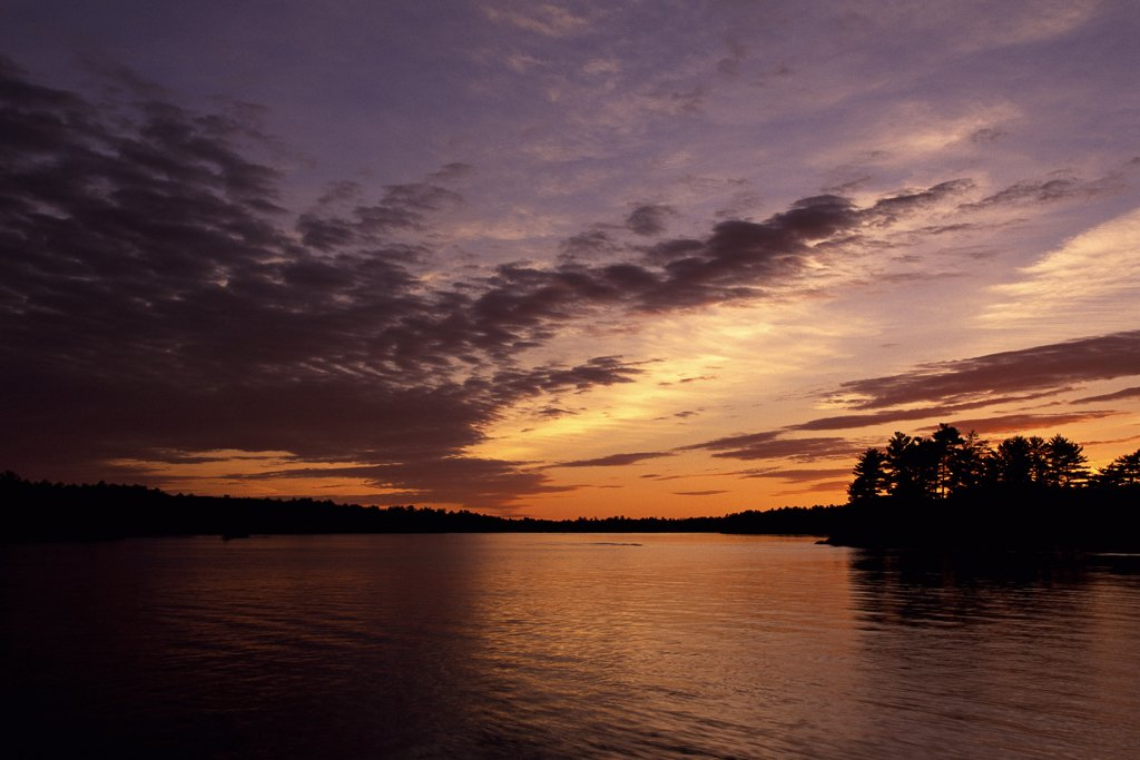 Stock Photo: 1828R-5237 Lake and Trees at Sunrise, Stony Lake, Ontario, Canada