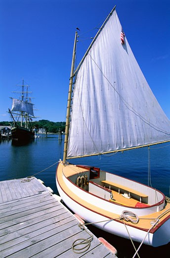 Sailboat, Mystic Seaport, Mystic, Connecticut, USA    : Stock Photo