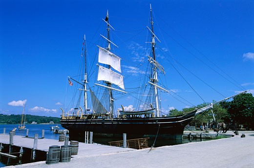 Ship at Dock, Mystic Seaport, Mystic, Connecticut, USA    : Stock Photo