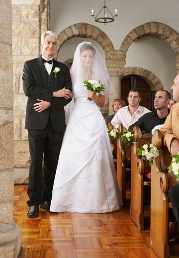 Stock Photo: 1828R-52484 Bride Walking Down Aisle