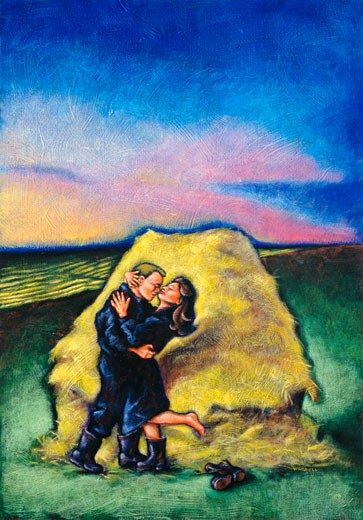 Stock Photo: 1828R-53006 Illustration of Couple Kissing by Hay Stack