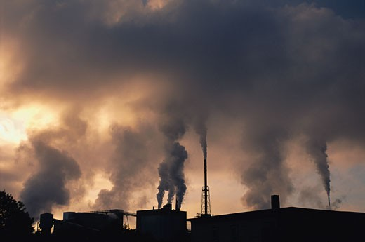Stock Photo: 1828R-5305 Smokestacks Billowing Smoke at Paper Mill, Rumford Falls, Maine, USA