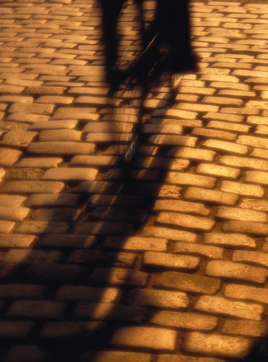 Stock Photo: 1828R-5387 Blurred Silhouette of Person Riding Bicycle on Stone Street The Hague, South Holland The Netherlands