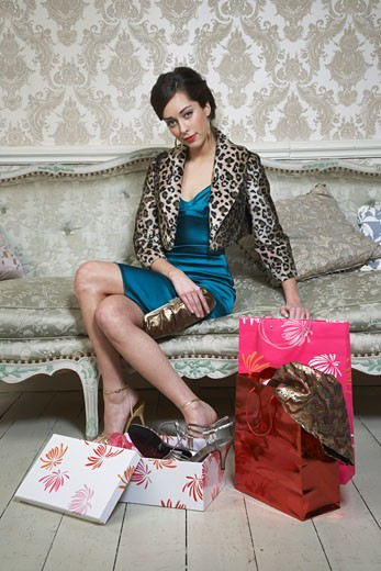 Stock Photo: 1828R-53933 Woman with Purchases