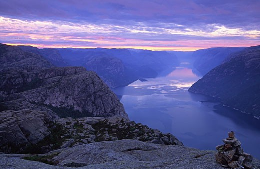Lysefjord at Dawn, Ryfylke, Norway    : Stock Photo