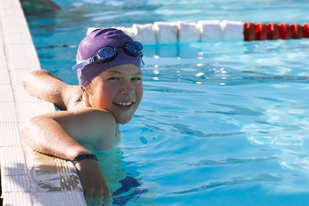 Portrait of Boy in Swimming Pool    : Stock Photo