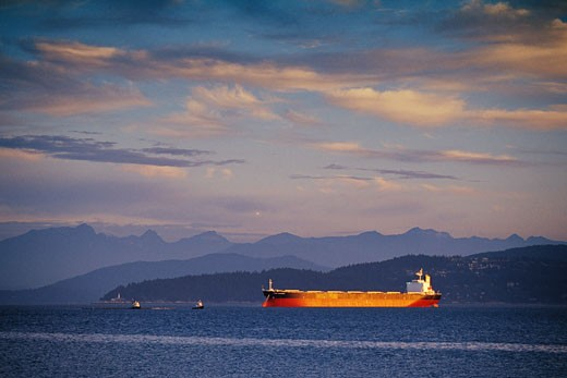 Stock Photo: 1828R-5621 Ship on Water near Harbor, Vancouver, British Columbia, Canada