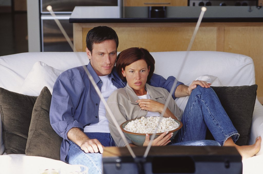 Stock Photo: 1828R-56509 Couple Watching Television