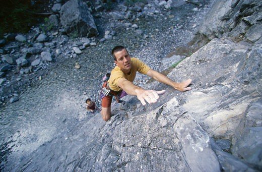 Stock Photo: 1828R-56579 Man Rock Climbing, Kananaskis Country, Alberta, Canada
