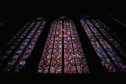 Stock Photo: 1828R-5664 Stained Glass Window in Ste. Chapelle Cathedral, Paris, France