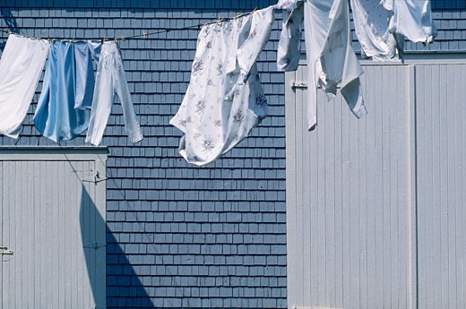 Laundry Hanging on Line, Seal Cove, Grand Manan Island, New Brunswick, Canada    : Stock Photo