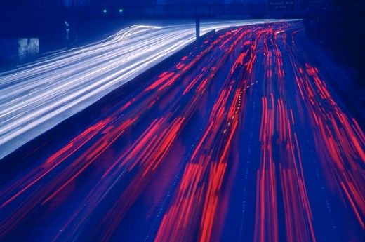 Stock Photo: 1828R-57268 Traffic on Highway at Night, Los Angeles, California, USA