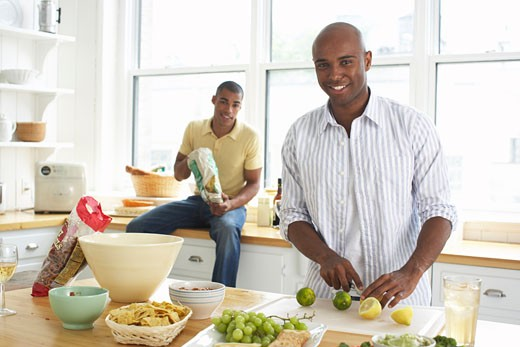 Stock Photo: 1828R-58090 Men Preparing Food