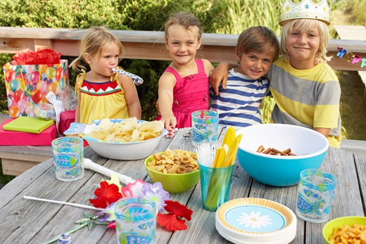 Stock Photo: 1828R-58156 Children at Birthday Party
