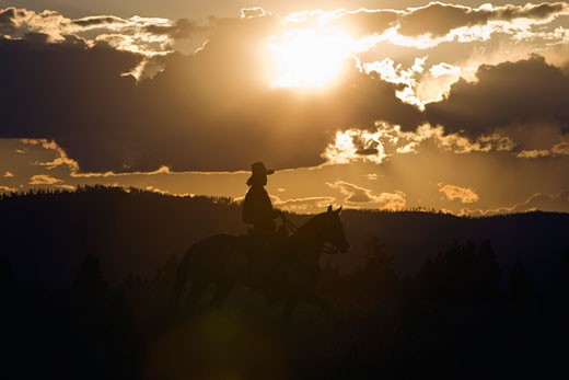 Cowboy on Horseback, Kalispell, Montana, USA    : Stock Photo