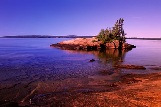 Stock Photo: 1828R-5903 Sunset over Small Island Near Rossport, Lake Superior, Ontario, Canada