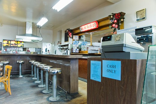Stock Photo: 1828R-59206 Interior of Diner, Waterloo, Ontario, Canada