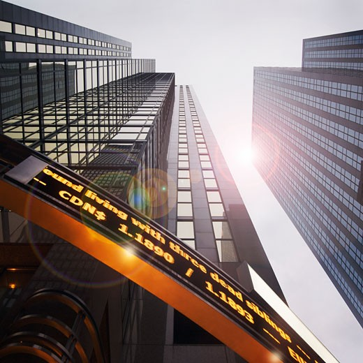 Stock Photo: 1828R-59220 Looking Up at Reuters Building, Toronto, Ontario, Canada