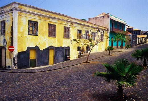Street, San Filipi, Fogo Island, Cape Verde    : Stock Photo