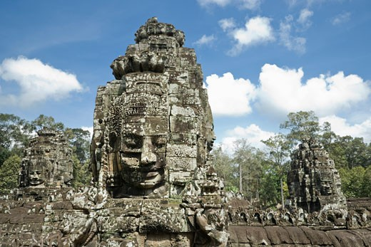 Stock Photo: 1828R-59633 Bayon Temple, Angkor Thom, Angkor, Cambodia