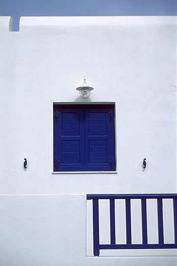 Stock Photo: 1828R-5970 Close-Up of Building with Window And Railing, Mykonos, Greece