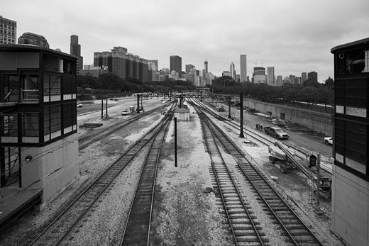 Train Station and Cityscape, Chicago, Illinois, USA    : Stock Photo