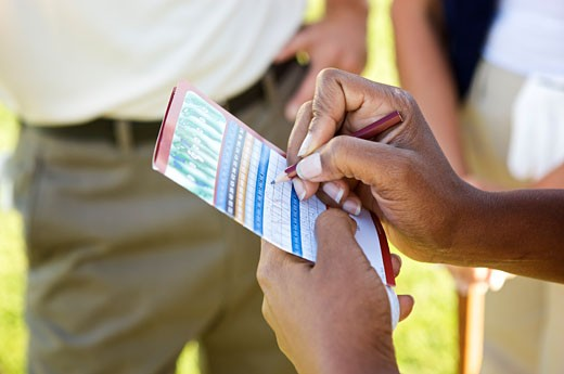 Stock Photo: 1828R-59929 Golfer Filling Out Score Card, Burlington, Ontario, Canada