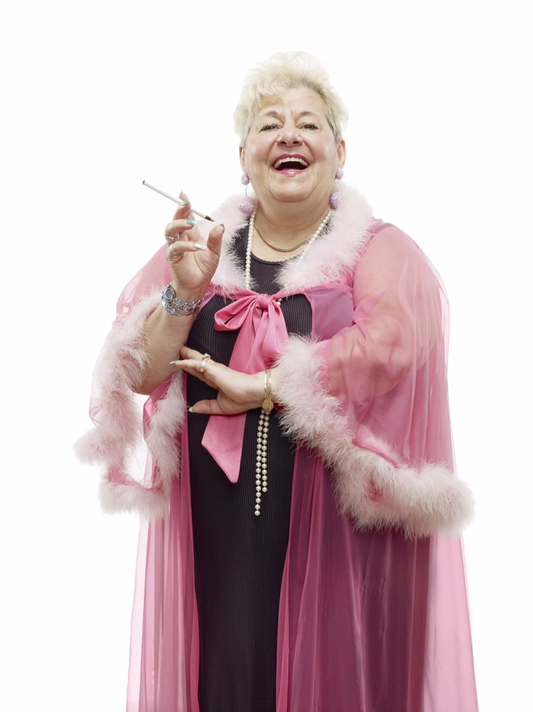 Portrait of Woman Wearing Negligee and Smoking a Cigarette    : Stock Photo