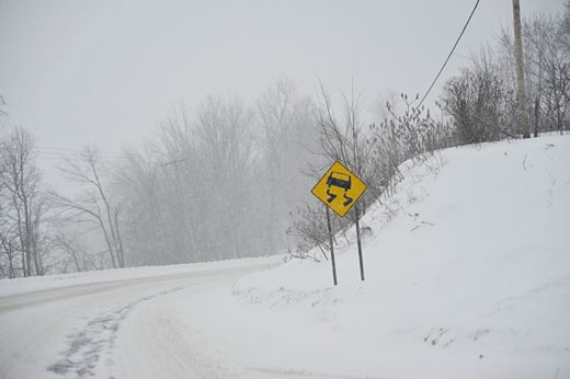 Stock Photo: 1828R-60050 Highway in Winter, Ontario, Canada