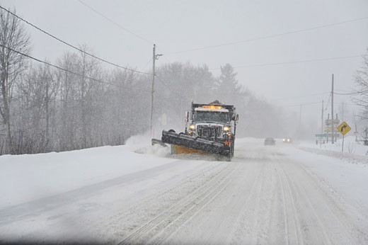 Stock Photo: 1828R-60051 Snowplow on Highway, Ontario, Canada