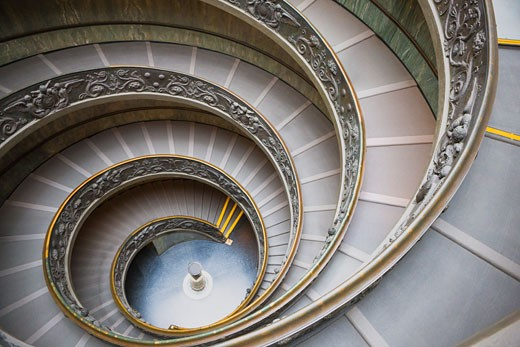 Staircase, Vatican Museums, Vatican City, Rome, Latium, Italy    : Stock Photo