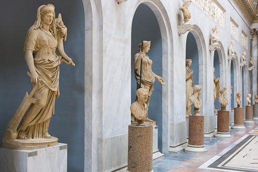 Stock Photo: 1828R-60137 Statues, Vatican Museums, Vatican City, Rome, Latium, Italy