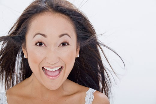 Close-up of Woman Looking Excited    : Stock Photo