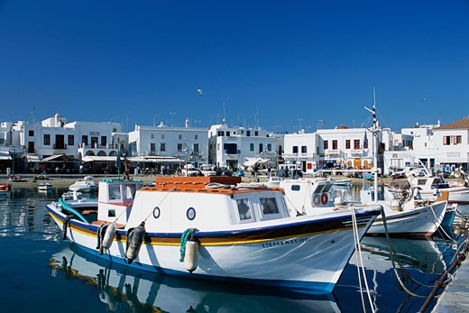 Fishing Boats in Harbor, Mykonos, Greece    : Stock Photo