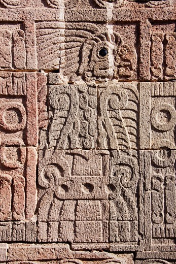 Carving in Quetzalpapalotl Palace, Teotihuacan Archaeological Site, Mexico    : Stock Photo