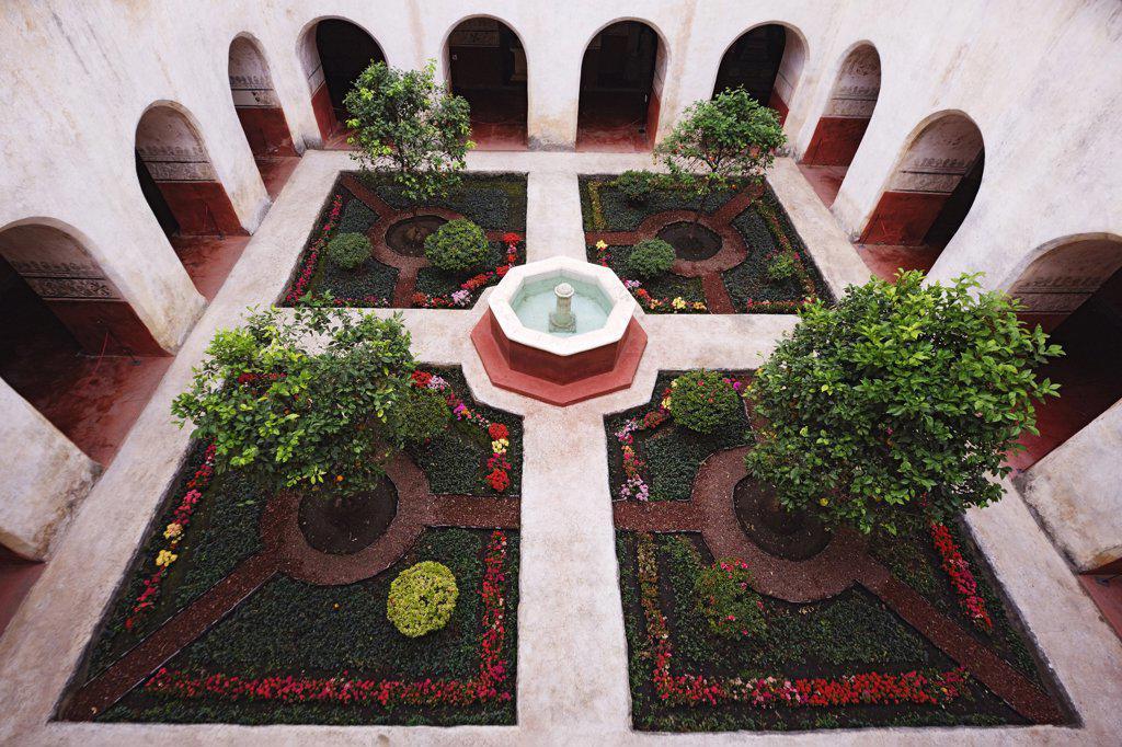 Stock Photo: 1828R-60883 Courtyard in Ex-Convento de la Natividad en Tepoztlan, Tepotzlan, Morelos, Mexico