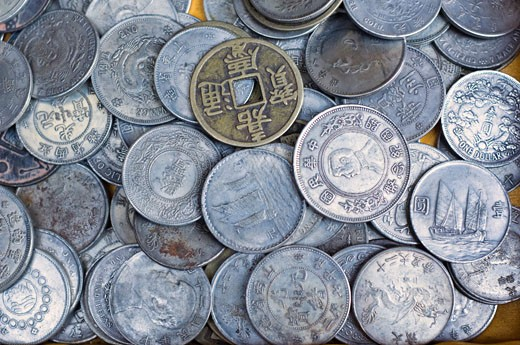Stock Photo: 1828R-60896 Antique Chinese Coins, Beijing, China