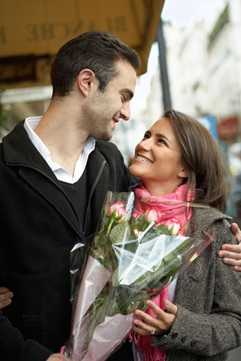 Couple at Flower Market, Paris, France    : Stock Photo