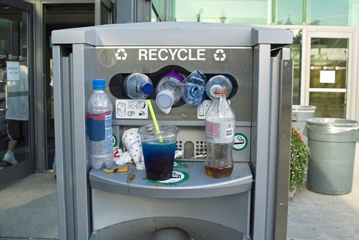 Overflowing Recycling Receptacle : Stock Photo