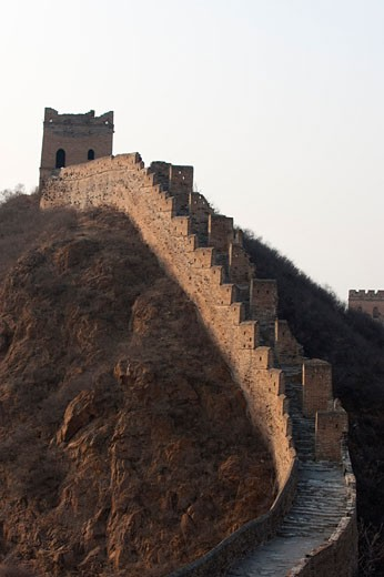 Steep Steps Leading to a Watchtower on the Jinshanling Section of The Great Wall, Hebei, China    : Stock Photo