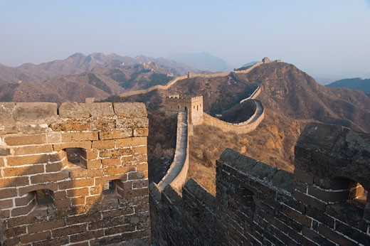 Stock Photo: 1828R-61090 View of the Jinshanling Section of The Great Wall From a Watchtower, Hebei, China