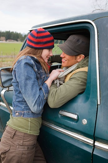 Stock Photo: 1828R-61206 Young Couple on a Farm in Hillsboro, Oregon, USA