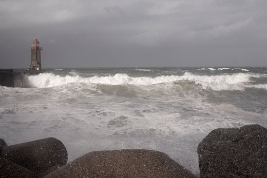 Stock Photo: 1828R-61583 Stormy Seas in Fecamp, Normandy, France