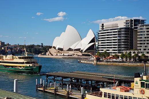 The Opera House, Circular Quay Terminal, Sydeny Harbour, Tasman Sea, South Pacific Ocean, Sydney, New South Wales, Australia    : Stock Photo
