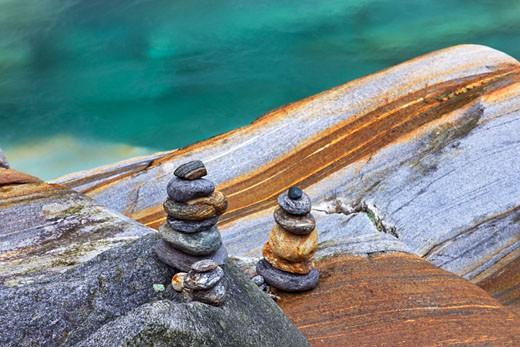 Stone Piles in River Verzasca, Valle Verzasca, Locarno, Ticino, Switzerland : Stock Photo