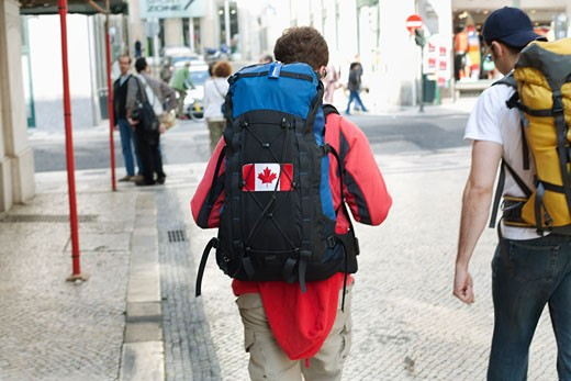 Stock Photo: 1828R-63412 Backpackers on the Street in Lisbon, Portugal